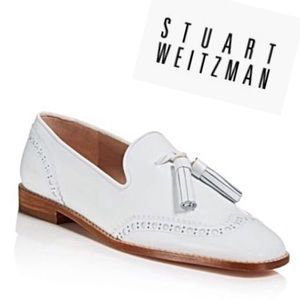 Stuart Weitzman White Leather Boything Loafers